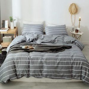 Gray-White Striped Pattern 3Pcs Queen Bedding Sets 2pillows & 1duvet cover gift